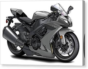 Kawasaki Ninja Grey Motorcycle Canvas Print by Maddmax