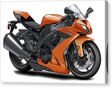 Kawasaki Ninja Orange Motorcycle Canvas Print by Maddmax