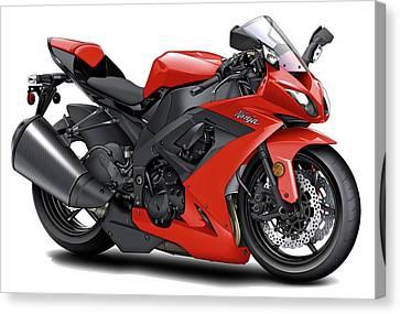 Kawasaki Ninja Red Motorcycle Canvas Print by Maddmax