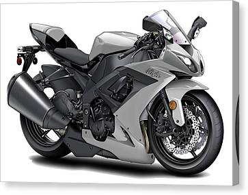 Kawasaki Ninja Silver Motorcycle Canvas Print by Maddmax