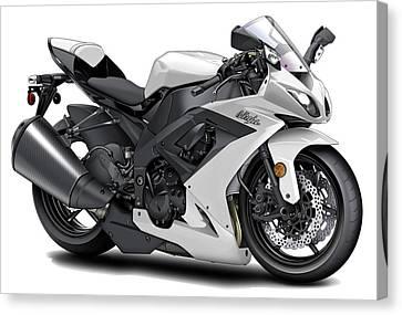 Kawasaki Ninja White Motorcycle Canvas Print by Maddmax