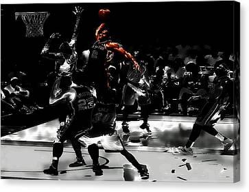 Dwyane Wade Canvas Print - Kawhi Leonard Nasty Slam by Brian Reaves