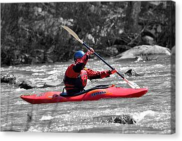 Trout Stream Landscape Canvas Print - Kayak 1 by Todd Hostetter