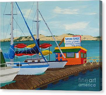 Canvas Print featuring the painting Kayak Shack Morro Bay California by Katherine Young-Beck