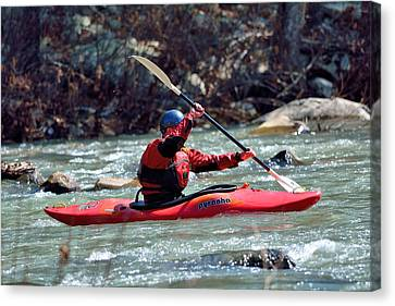 Trout Stream Landscape Canvas Print - Kayak by Todd Hostetter