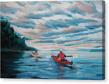 Kayakers Canvas Print by Synnove Pettersen