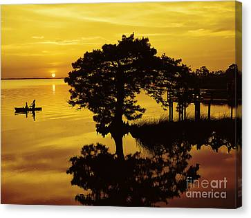 Kayaking At Sunset 2 Obx Canvas Print