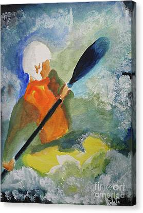 Canvas Print featuring the painting Kayaking by Sandy McIntire