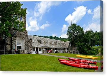 Kayaks At Boat House North Park Pittsburgh Pennsylvania Canvas Print by Amy Cicconi