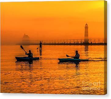 Kayaks At Sunset - Grand Haven Light Canvas Print