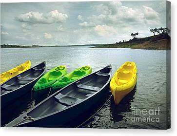 Kayaks Canvas Print by Carlos Caetano