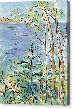 Kayaks On The Lake Canvas Print