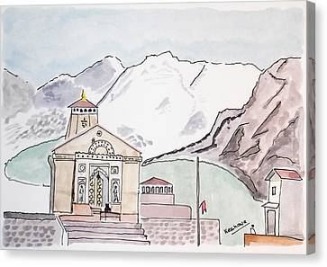 Watercolour Canvas Print - Kedarnath Jyotirling by Keshava Shukla