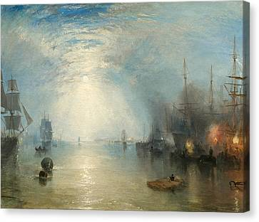 Keelmen Heaving In Coals By Moonlight Canvas Print by William Turner