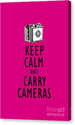 Keep Calm And Carry Cameras Photographer Tee Canvas Print by Edward Fielding