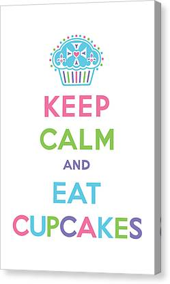 Keep Calm And Eat Cupcakes - Multi Pastel Canvas Print by Andi Bird