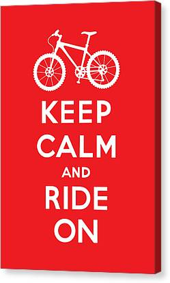 Keep Calm And Ride On - Mountain Bike - Red Canvas Print by Andi Bird