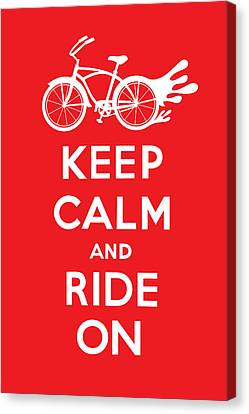 Keep Calm And Ride On Cruiser - Red Canvas Print by Andi Bird