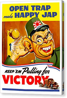 Keep Em Pulling For Victory - Ww2 Canvas Print by War Is Hell Store