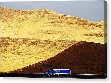 Canvas Print featuring the photograph Keep On Western Truckin On Hwy 152 Ca by John King