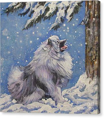 Dogs In Snow Canvas Print - Keeshond In Wnter by Lee Ann Shepard