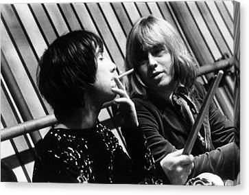 Canvas Print featuring the photograph Keith Moon Brian Jones 1968 by Chris Walter