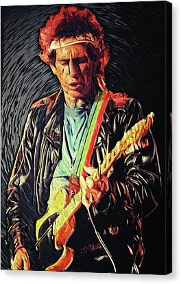 The Epiphone Les Paul Guitar Canvas Print - Keith Richards by Taylan Apukovska