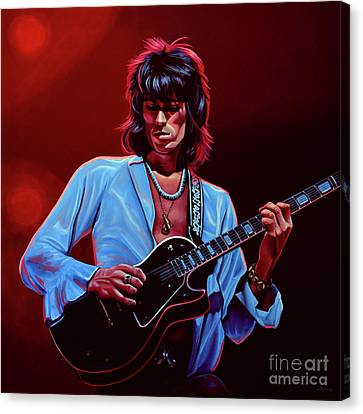 Artwork On Canvas Print - Keith Richards The Riffmaster by Paul Meijering
