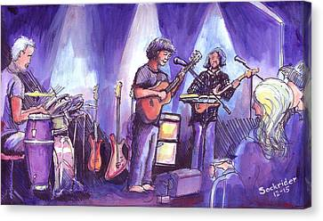 Canvas Print featuring the painting Keller And His Compadres by David Sockrider