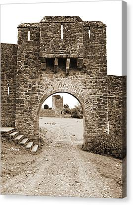 Kells Priory Gatehouse With Arrow Loops Medieval Ruin County Kilkenny Ireland Sepia Canvas Print