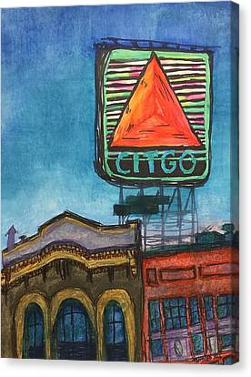 Rooftop Canvas Print - Kenmore Square Neon Citgo by Tontileo