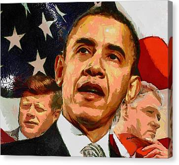 Democrats Canvas Print - Kennedy-clinton-obama by Anthony Caruso