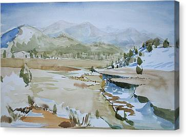 Kennedy Meadows Half In Winter Canvas Print by Amy Bernays