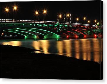 Kenneth F. Burns Memorial Bridge- Christmas Lights Canvas Print