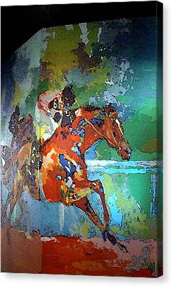 Kentucky Horse Park - Mural Of Horse Race  Canvas Print by Thia Stover
