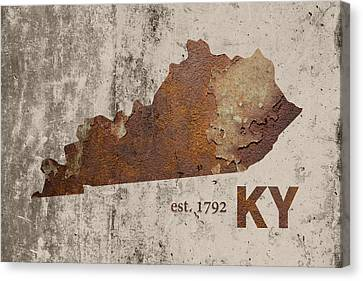 Rust Canvas Print - Kentucky State Map Industrial Rusted Metal On Cement Wall With Founding Date Series 002 by Design Turnpike