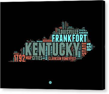 Kentucky Word Cloud Map 1 Canvas Print by Naxart Studio