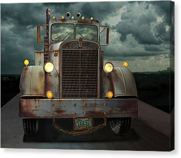 Old Trucks Canvas Print - Kenworth Old Workhorse by Stuart Swartz