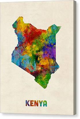 Kenya Watercolor Map Canvas Print by Michael Tompsett