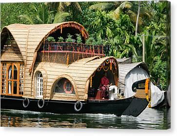 Keralan Houseboat Canvas Print by Milton Cogheil