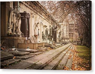 Headstones Canvas Print - Kerepesi Cemetery Budapest by Joan Carroll