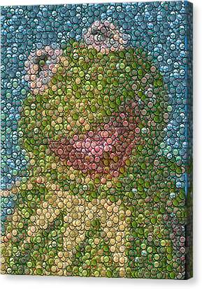 Mosaic Canvas Print - Kermit Mt. Dew Bottle Cap Mosaic by Paul Van Scott