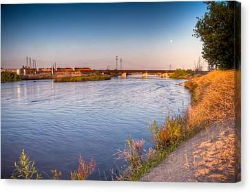 Kern River Train Full Moon Morning Canvas Print