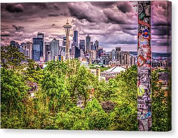 Kerry Park Grunge Canvas Print by Spencer McDonald