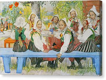 Kersti's Birthday Canvas Print by Carl Larsson