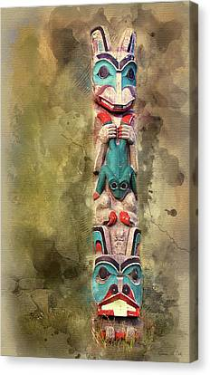 Woodcarving Canvas Print - Ketchikan Alaska Totem Pole by Bellesouth Studio