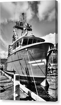 Ketchikan Fishing Boats 2 Bw Canvas Print by Mel Steinhauer
