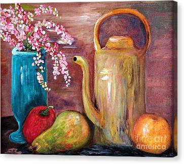 Kettle And Fruit Canvas Print