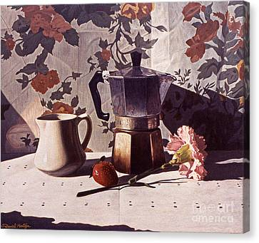 Kettle And Pink Carnation Canvas Print by Daniel Montoya