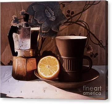 Kettle Cup And Saucer Canvas Print by Daniel Montoya